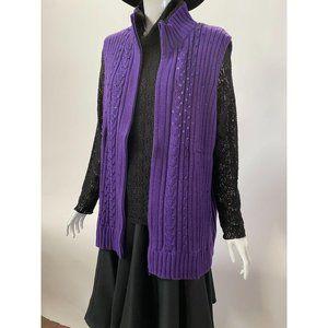 Quacker Factory Purple Knit Vest